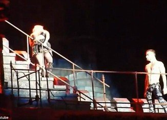 Lady Gaga had just begun to strut down a set of stairs on to the main stage area when her sickness kicked in