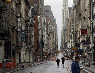 Manhattan streets were deserted from early this morning after 375,000 people were evacuated from their homes ahead of Hurricane Sandy