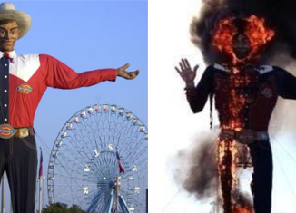 The flames quickly engulfed Big Tex's structure, leaving behind little more than a charred metal frame