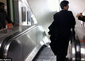 A drunk businessman, who was so determined to reach his platform at the London Underground, attempted to walk the wrong way down an escalator