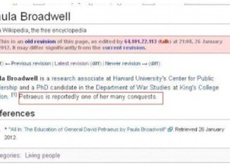 An anonymous Wikipedia editor may have tried to reveal David Petraeus's affair with Paula Broadwell back in January this year