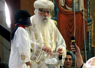 Bishop Tawadros' name was selected from a glass bowl by a blindfolded boy at a ceremony in Cairo's St Mark's Cathedral