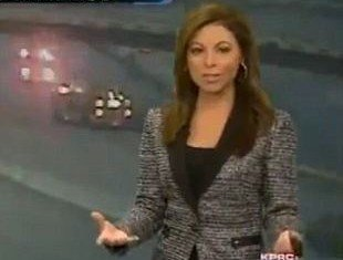 Jennifer Reyna was delivering a live TV update when she missed a massive accident that occurred in real-time on a screen behind her