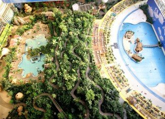 The Tropical Islands Resort in Krausnick, Germany, is the world's largest indoor beach with 400 sunloungers