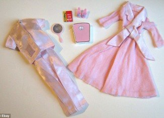 1965 Slumber Party Barbie came with a set of pink bathroom scales and a diet book