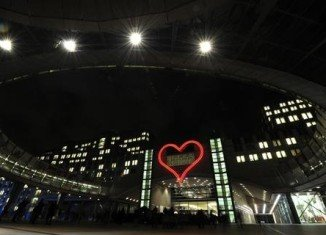A giant pink neon heart now adorns the European Parliament building in Brussels in memory of the late dissident playwright and Czech president Vaclav Havel