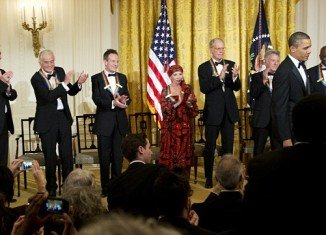 Barack Obama honored seven of the US most influential artists, including Dustin Hoffman, Buddy Guy, David Letterman, ballerina Natalia Markarova, and surviving members of rock band Led Zeppelin