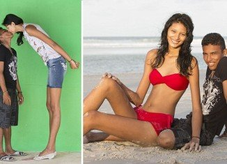 Elisany da Cruz Silva, the world's tallest teenage girl, and her boyfriend Francinaldo da Silva Carvalho