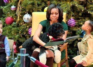 Michelle Obama reads Twas The Night Before Christmas to sick children in hospital but Bo steals the show