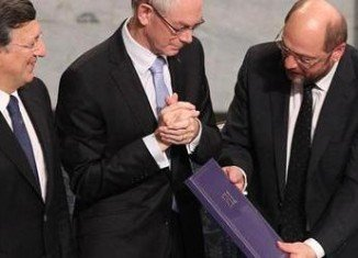 The presidents of the EU's three main institutions have collected the Nobel Peace Prize in Oslo