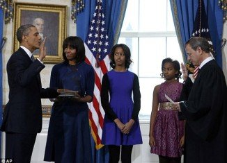 Barack Obama has officially been sworn in today for his second term as US president in a small ceremony at the White House