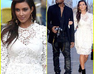 Kim Kardashian and Kanye West during a romantic trip in Italy to celebrate her 32nd birthday on October 2012