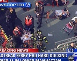 New York Seastreak Wall Street ferry has hit a dock during the Manhattan rush hour, injuring as many as 57 people and tearing a hole in the vessel's bow