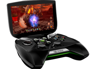 Nvidia Project Shield is Android-based and marries a 5 in touch-screen with joysticks, buttons and other controls, in a clam-shell design