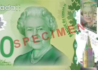 The Canadian new plastic banknotes feature Norway maple leaves, instead of the Canadian sugar maple leaf