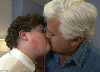 After closing his eyes to recreate Go Daddy Super Bowl advert Jay Leno got a nasty shock
