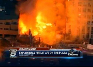 At least 15 people have been injured after a suspected gas explosion triggered a huge blaze in Country Club Plaza shopping district in Kansas City, Missouri