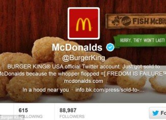 Burger King's Twitter account was hacked by a McDonald's fan