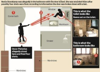 Photos of Oscar Pistorius' bathroom where Reeva Steenkamp lay dying after he gunned her down through the door