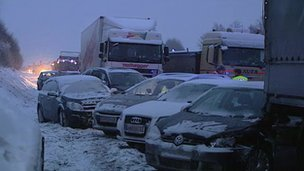 At least one person died in a pile-up involving about 100 vehicles on snow-hit Austrian motorway A1