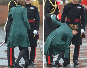 Kate Middleton's heel became stuck when standing on a grate as the Duke and Duchess of Cambridge attend a St Patrick's Day parade