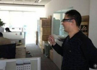 A leaked image taken at Baidu's offices show a person wearing a headset matching the description of Baidu Eye