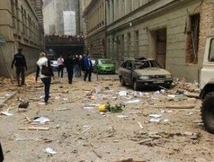 A massive explosion has damaged a building in the centre of the Czech capital Prague
