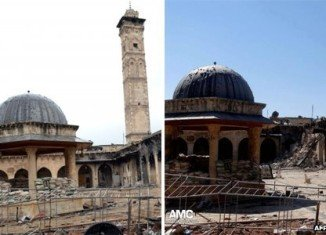 The minaret of Umayyad Mosque, one of Syria's most famous, has been destroyed during clashes in the northern city of Aleppo