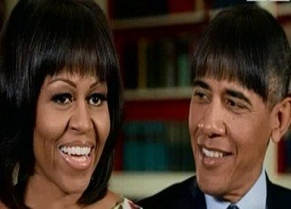 This year's White House Correspondents' Dinner saw President Barack Obama in pictures with Michelle-style bangs
