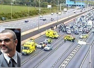 George Michael was involved in a crash in his Range Rover during rush hour on the M1 motorway near St Albans, Hertfordshire