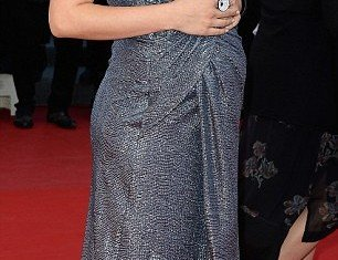 Hilaria Baldwin brought the glamour to Cannes in her glittering grey dress and pink heels, despite being heavily pregnant