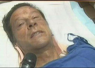 Imran Khan is recuperating in hospital after falling off a makeshift lift that was taking him onto a stage at an election rally in Lahore