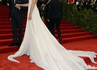 Katie Holmes revealed her bony back as she attended the Metropolitan Museum of Art's Costume Institute Gala on Monday night in New York City