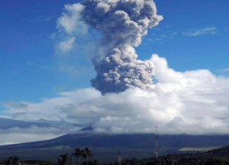 Mount Mayon at 206 miles south-east of the capital Manila sent a cloud of ash and rocks into the sky early on Tuesday