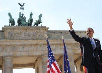 """Barack Obama spoke at Brandenburg Gate 50 years after JFK's """"Ich bin ein Berliner"""" speech"""