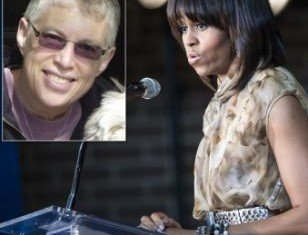 Michelle Obama's speech at a Washington, D.C. political fundraiser was interrupted by protester Ellen Sturtz