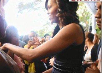 The moment when activist Ellen Sturtz heckled First Lady Michelle Obama
