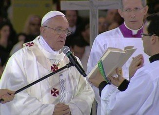 Pope Francis has arrived at the Shrine of Our Lady of Aparecida in the Brazilian state of Sao Paulo to hold the first Mass of his trip to Latin America
