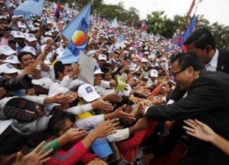 Supporters turned out in Phnom Penh to greet Sam Rainsy when he returned from self-imposed exile last week