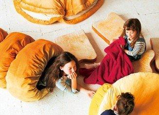 Croissant duvet, toast pillow and doughnut bun by Felissimo