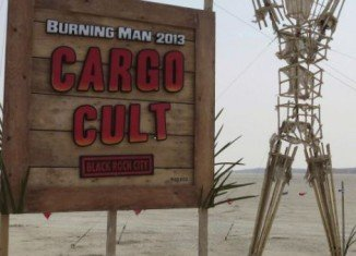 "The art theme of this year's Burning Man Festival is ""Cult Cargo"" and focuses on a strange being called John Frum"