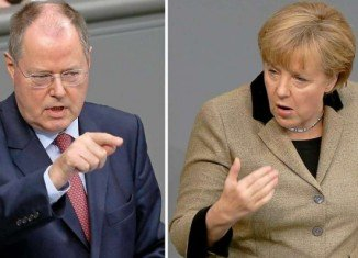 German Chancellor Angela Merkel and her poll rival, centre-left Peer Steinbrueck, are due to take part in their only televised election debate