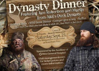Jase Robertson and Justin Martin of Duck Dynasty will join the Auxiliary Of Mon General Hospital at the Waterfront Place Hotel and Morgantown Event Center