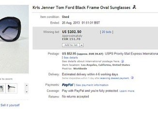 Kris Jenner was slammed on eBay after a customer bought a pair of Tom Ford black frame oval sunglasses from her