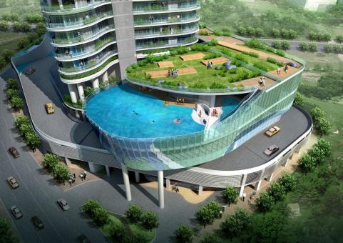 Glass Balcony Pools Under Construction, Glass Swimming Pool India