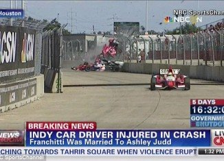 Dario Franchitti car crash during the final lap of the Grand Prix of Houston