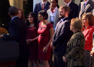 President Barack Obama helped catch pregnant Karmel Allison who was apparently about to faint while he hosted a press conference at the White House