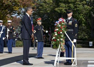 President Barack Obama traveled to Arlington National Cemetery for the traditional Veterans Day wreath laying ceremony