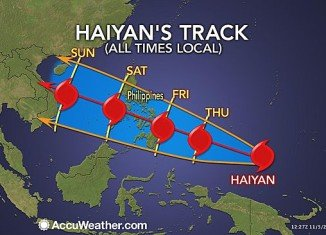 Typhoon Haiyan is heading for Philippines and is expected to strike central parts of the country on Friday