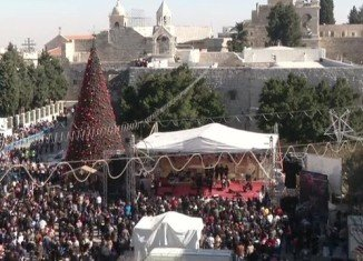Crowds of pilgrims and tourists have begun to gather in the biblical town of Bethlehem to kick off Christmas Eve celebrations